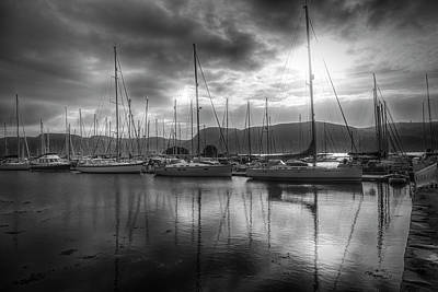 Photograph - Sailboat Reflections At Sunrise Black And White by Debra and Dave Vanderlaan