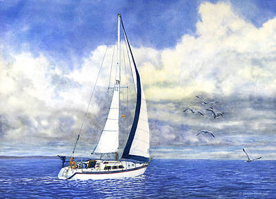 Painting - Sailboat With Seagulls by Douglas Castleman