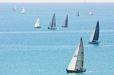 Sailboats Racing On Blue Water Art Print