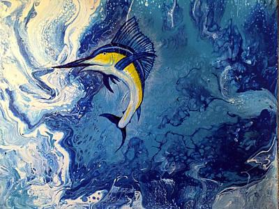 Blue Hues - Sailfish Jump by Elizabeth C Sullivan