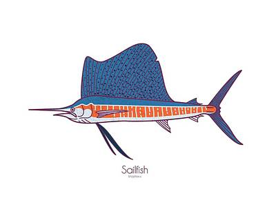 Digital Art - Sailfish by Kevin Putman