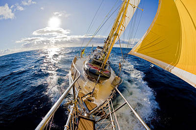 Sunlight Photograph - Sailing A Ketch by John White Photos