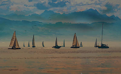 Mixed Media - Sailing At Dusk by Clive Littin