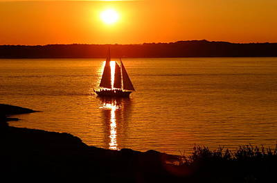Photograph - Sailing At Sunset by Jeffrey PERKINS