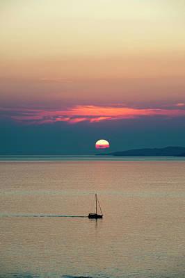 Mykonos Photograph - Sailing Boat At Sunset by Sergio Pitamitz