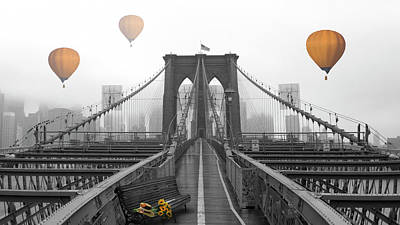 Photograph - Sailing Over The Brooklyn Bridge by Debra and Dave Vanderlaan