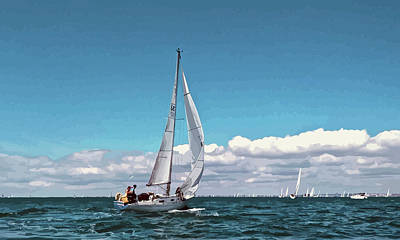 Mixed Media - Sailing Regatta On A Brisk Summer's Day by Clive Littin