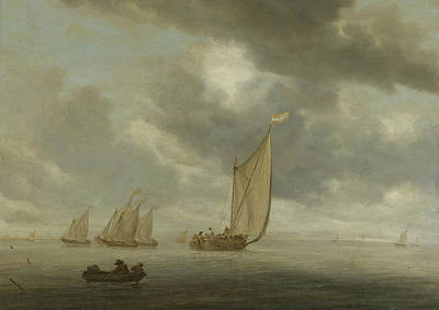 Painting - Sailing Ships On Wide Inland Water by Salomon van Ruysdael