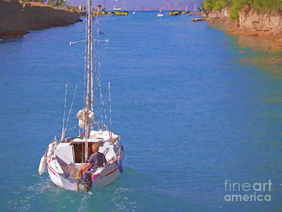 Mixed Media - Sailing The Corinth Canal by Susan Lafleur