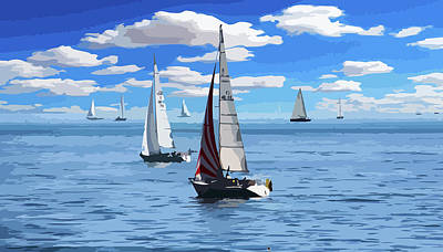 Mixed Media - Sailing Yachts Acrylic by Clive Littin