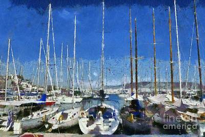 Painting - Sailing Yachts In Mikrolimano Port by George Atsametakis