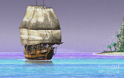 Digital Art - Sailship On A Tropical Island by Lutz Roland Lehn