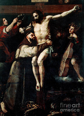 Painting - Saint Francis Of Assisi Embracing The Crucified Christ by Francisco Ribalta