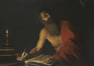 Painting - Saint Jerome Reading By Candlelight by Trophime Bigot