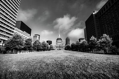 Photograph - Saint Louis City Building And Skyline In Black And White by Gregory Ballos