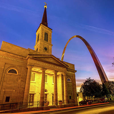 Royalty-Free and Rights-Managed Images - Saint Louis Gateway Arch and Cathedral at Dawn 1x1 by Gregory Ballos