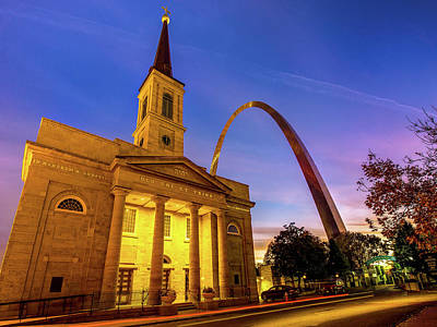 Royalty-Free and Rights-Managed Images - Saint Louis Gateway Arch and Cathedral at Dawn by Gregory Ballos