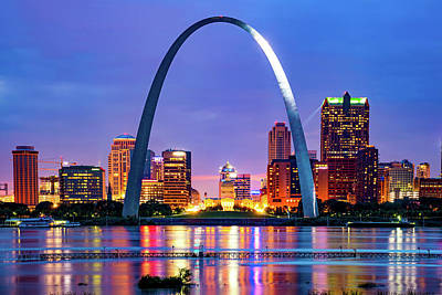 Royalty-Free and Rights-Managed Images - Saint Louis Skyline and Arch Over The Mississippi River by Gregory Ballos