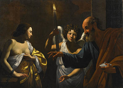Painting - Saint Peter Visiting Saint Agatha In Prison by Workshop of Simon Vouet