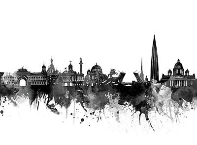 Abstract Skyline Royalty-Free and Rights-Managed Images - Saint Petersburg Skyline Bw by Bekim M