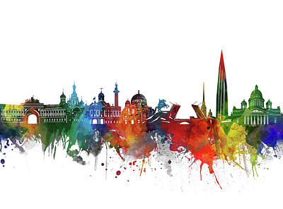 Abstract Skyline Royalty-Free and Rights-Managed Images - Saint Petersburg Skyline Watercolor 2 by Bekim M