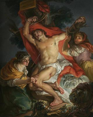 Painting - Saint Sebastian Tended By Saint Irene by Vicente Lopez Portana