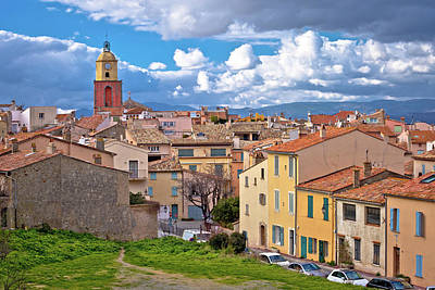 License Plate Skylines And Skyscrapers Rights Managed Images - Saint Tropez village church tower and old rooftops view, famous  Royalty-Free Image by Brch Photography