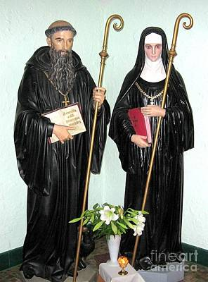 Photograph - Saints Benedict And Scholastica Statues At Saint Josephs Monastery by Rose Santuci-Sofranko
