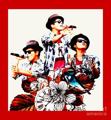 Bling Mixed Media - Sale New Year I Love Bruno Mars by Dee Art