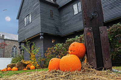Photograph - Salem Witch House At Halloween Salem Ma by Toby McGuire