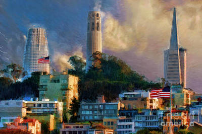 Photograph - Salesforce Tower Coit Tower Transamerica Pyramid by Blake Richards