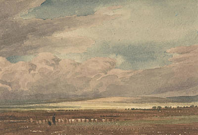 Drawing - Salisbury Plain With Old Sarum In The Distance, Wiltshire by William Turner of Oxford
