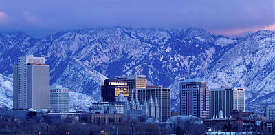 Salt Lake City Skyline With Wasatch Art Print by John Telford Photographs