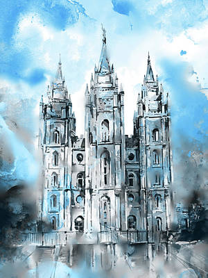 Salt Lake Temple Wall Art - Digital Art - Salt Lake City Temple 6 by Bekim Art