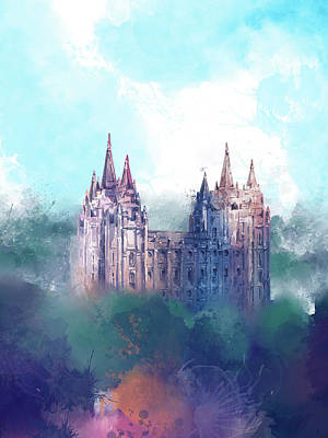 Salt Lake Temple Wall Art - Digital Art - Salt Lake City Temple Watercolor 2 by Bekim Art
