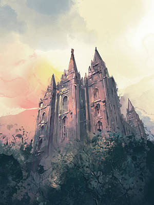 Salt Lake Temple Wall Art - Digital Art - Salt Lake City Temple Watercolor 3 by Bekim Art