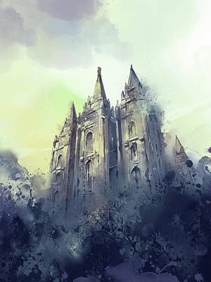 Salt Lake Temple Wall Art - Digital Art - Salt Lake City Temple Watercolor 4 by Bekim Art