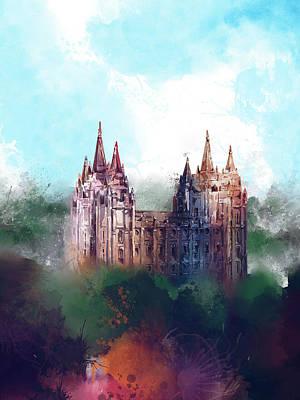 Salt Lake Temple Wall Art - Digital Art - Salt Lake City Temple Watercolor by Bekim Art