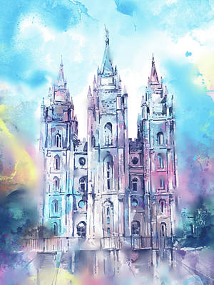Salt Lake Temple Wall Art - Digital Art - Salt Lake City Temple Waterocolor 5 by Bekim Art