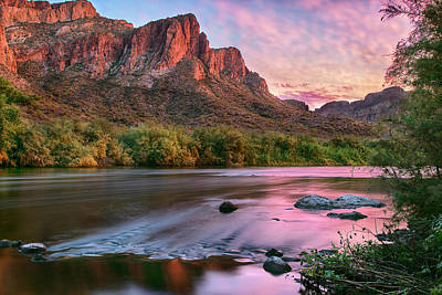 Photograph - Salt River In Pink Sunset by Dave Dilli