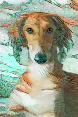 Digital Art - Saluki Dog - A Day At The Beach by Peggy Collins
