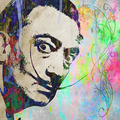 Painting - Salvador Dali Crazy Artist Watercolor by Robert R Splashy Art Abstract Paintings