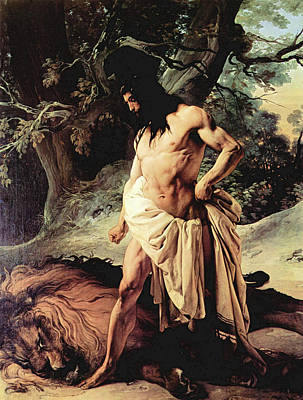 Painting - Samson And The Lion by Francesco Hayez