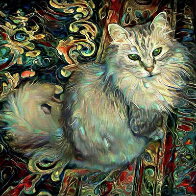 Digital Art - Samson The Silver Maine Coon Cat by Peggy Collins