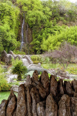 Photograph - San Antonio Japanese Tea Garden - Texas - Waterfall by Jason Politte