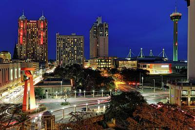 Photograph - San Antonio Skyline At Christmas - Torch Of Friendship - Texas by Jason Politte