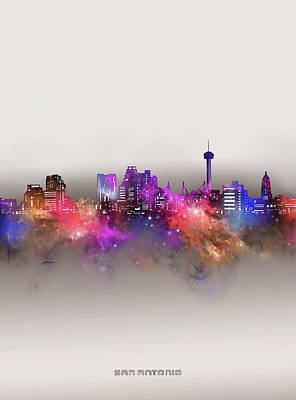 Abstract Skyline Royalty-Free and Rights-Managed Images - San Antonio Skyline Galaxy by Bekim M