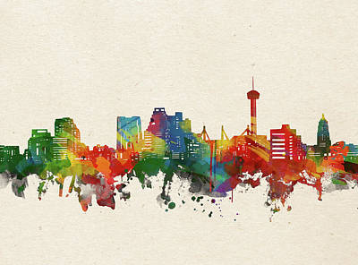 Abstract Skyline Royalty-Free and Rights-Managed Images - San Antonio Skyline Watercolor by Bekim M