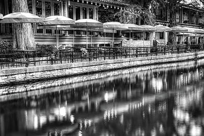 Photograph - San Antonio Texas Riverwalk In Black And White by Gregory Ballos