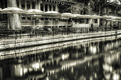 Photograph - San Antonio Texas Riverwalk In Sepia by Gregory Ballos